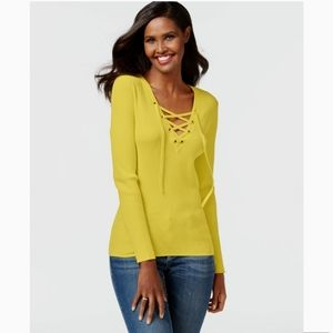 💛INC 💛 yellow Solid Lace-up Ribbed Sweater NWT S